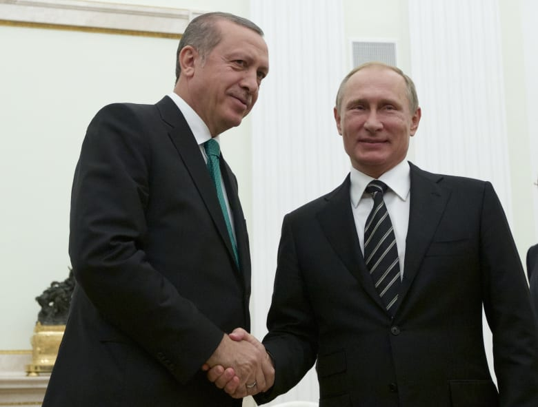 صورة أرشيفية للرئيس الروسي فلاديمير بوتين ونظيره التركي رجب طيب أردوغان