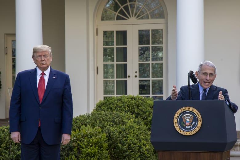 كبير خبراء مواجهة تفشي فيروس كورونا في الولايات المتحدة أنتوني فوشي والرئيس الأمريكي دونالد ترامب