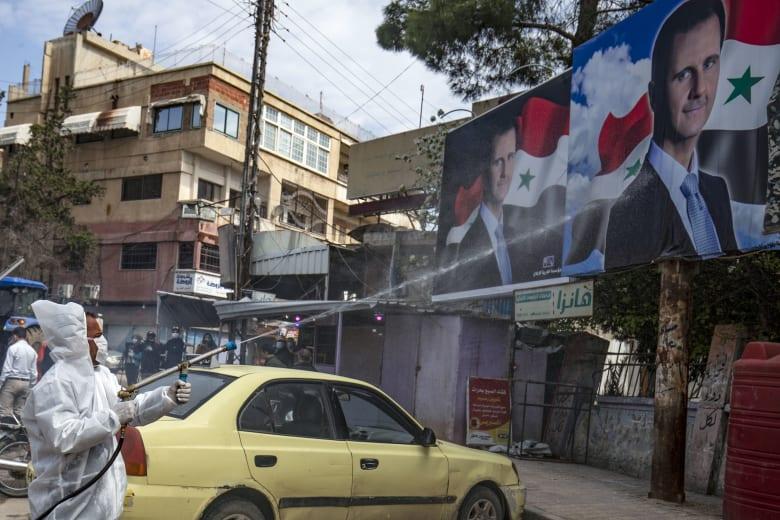 صورة أرشيفية من عمليات التعقيم ضد فيروس كورونا بمدينة القامشلي قي سوريا