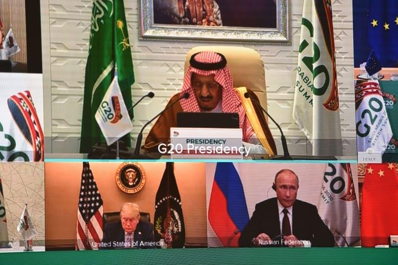 """""""صدمة كورونا"""" واللقاحات وإعادة فتح الاقتصاد.. أبرز ما قاله العاهل السعودي في افتتاح قمة الـ20"""
