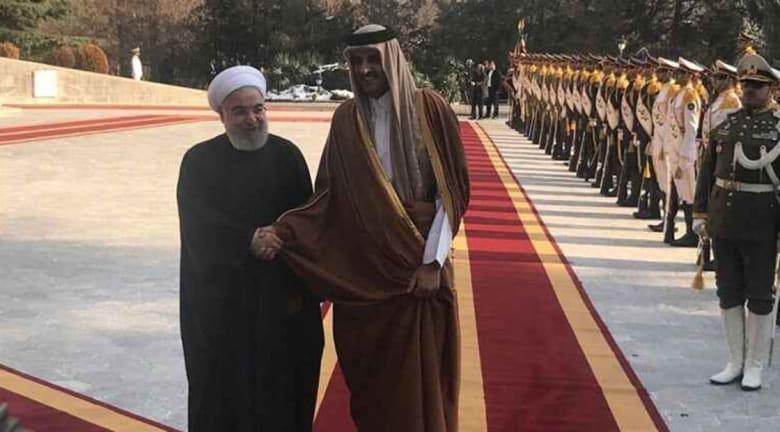 صورة أرشيفية من زيارة أمير قطر إلى طهران ولقاء روحاني مطلع العام 2020