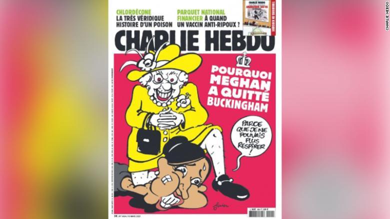 كاريكاتير شارلي إبدو عن الملكة إليزابيث وميغان ماركل