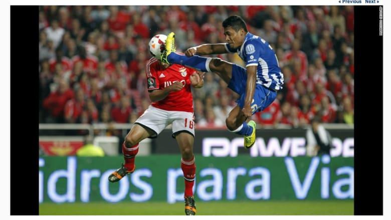 """""""إدواردو سالفيو"""" يسجل أول هدف للنصف النهائي من مباراة كأس البرتغال لكرة القدم."""