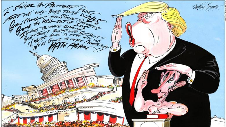 تشرشل وترامب وبوتين كما لم ترهم من قبل..بهذه الصور الكاريكاتورية