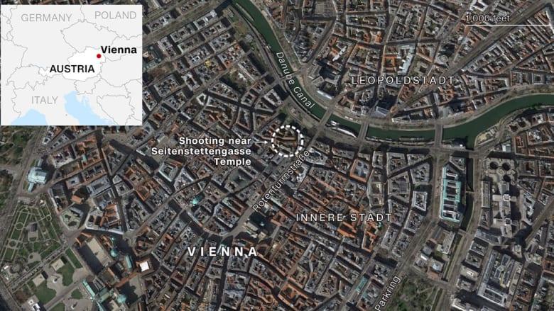 موقع الهجوم في فيينا