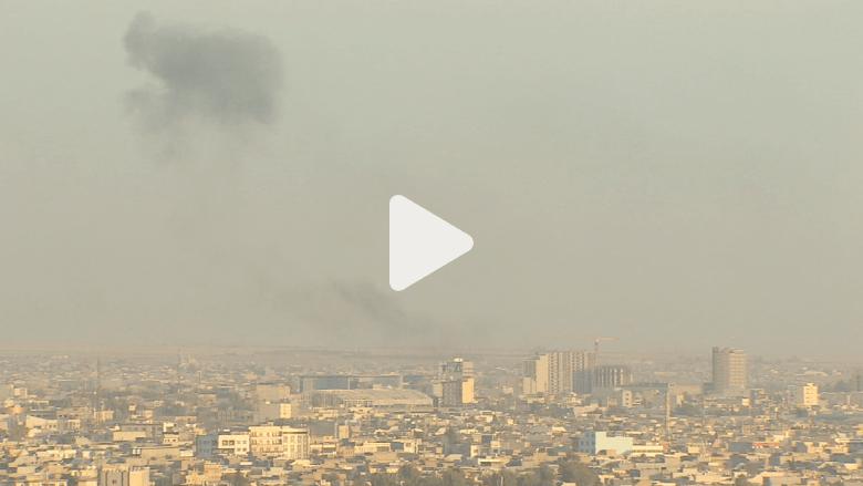 تصاعد أعمدة دخان بعد انفجار سيارة بأربيل