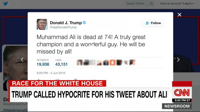 """بالفيديو:دونالد ترامب يوصف بـ""""المنافق"""" بعد تغريده عن عظمة محمد علي"""