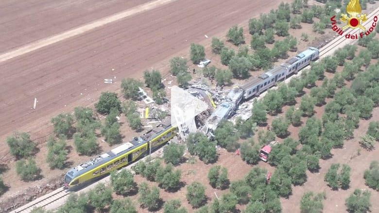 شاهد.. حادث اصطدام بين قطارين يتسبب بمقتل 20 شخصاً في ايطاليا