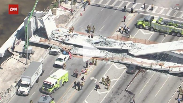قتلى وجرحى في انهيار جسر بولاية فلوريدا