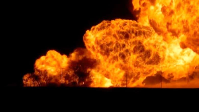 انفجار أنبوب غاز يحدث حريقا ضخما