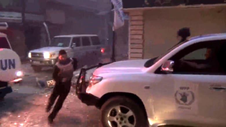 استهداف سيارات المساعدات في حمص