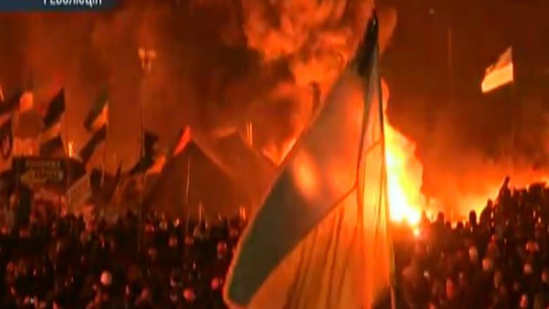 بالفيديو.. مقتل 4 متظاهرين وإحراق مقر الحزب الحاكم في كييف
