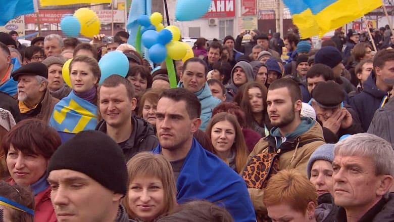 مظاهرات مؤيدة لأوكرانيا في سيمفروبول