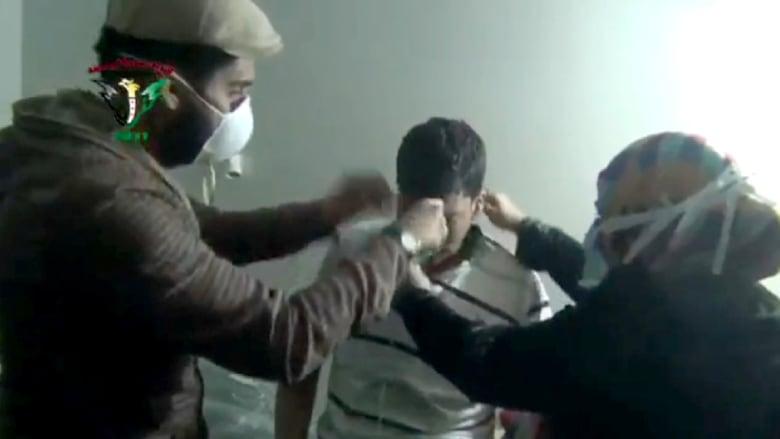 آثار الهجوم بغاز سام على كفرزيتا السورية