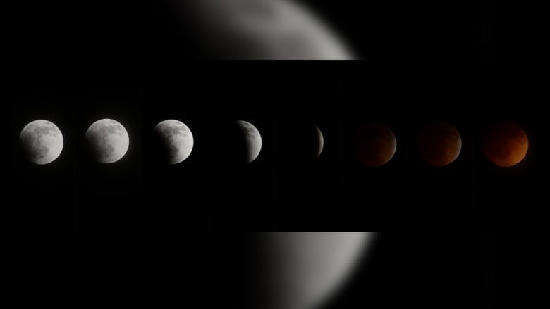 سرد من الصور يبين خسوف القمر وتحوله إلى اللون الأحمر
