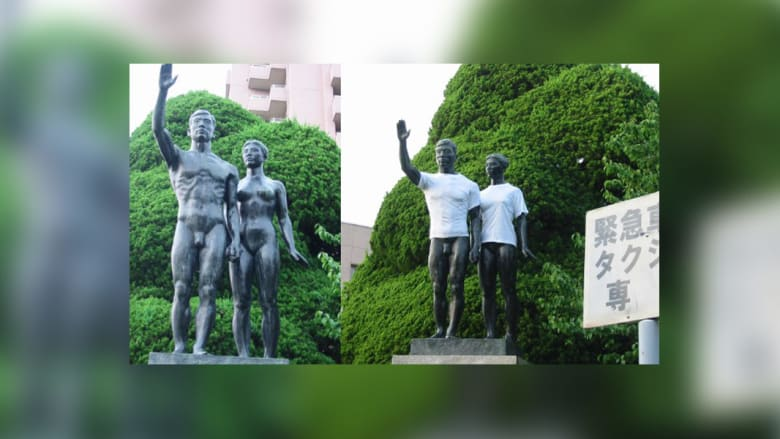 تغطية التماثيل العارية بقمصان بيضاء اللون..لفتة غريبة في اليابان