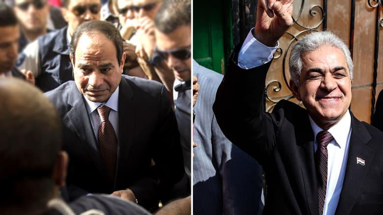 بالفيديو.. السيسي وصباحي يصوتان في انتخابات بلا إخوان