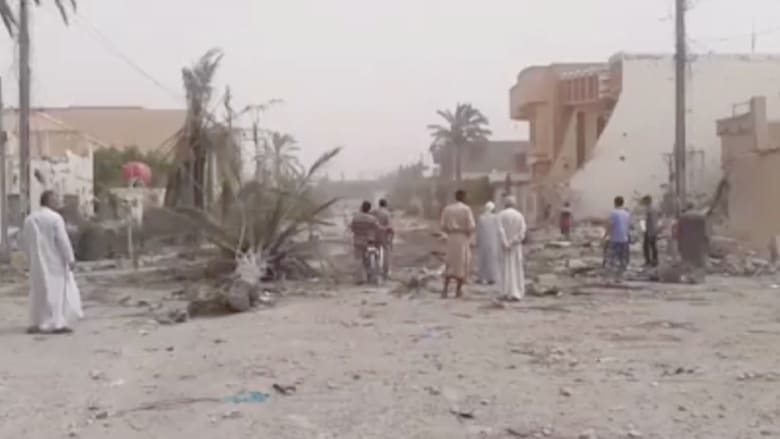 مشاهد من آثار الدمار بالفلوجة بعد استهداف أعضاء في داعش