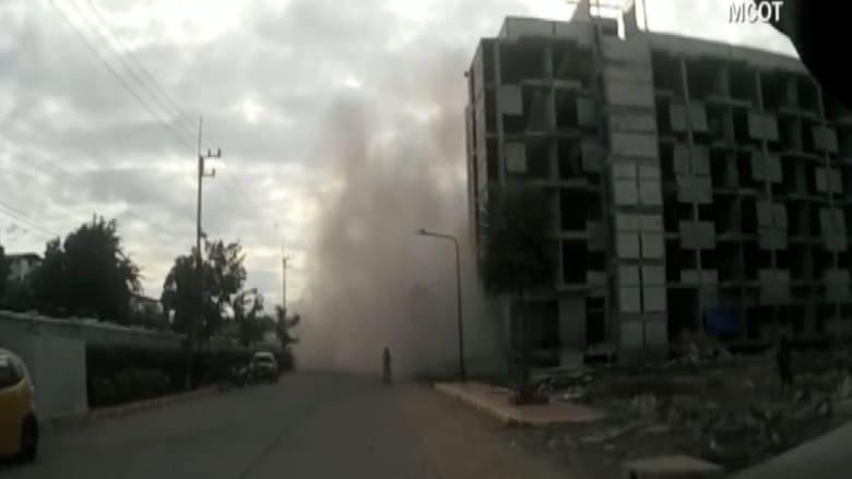 بالفيديو.. شاهد لحظة انهيار مبنى سكني في تايلاند