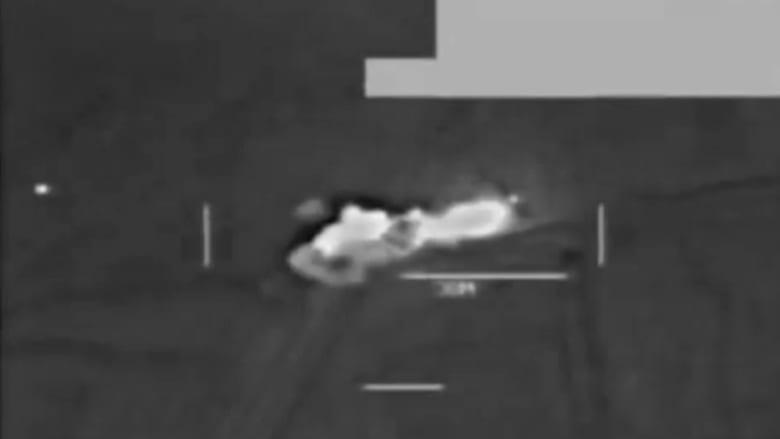 """شاهد لحظة شن غارة جوية أمريكية على """"همفي"""" لداعش"""
