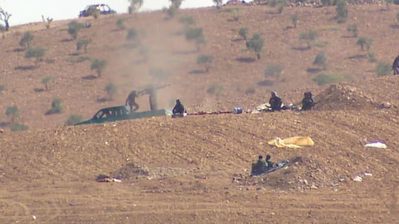 """بالفيديو.. مشاهد من المعارك بين مقاتلين أكراد ومسلحي داعش قرب """"عين العرب"""""""