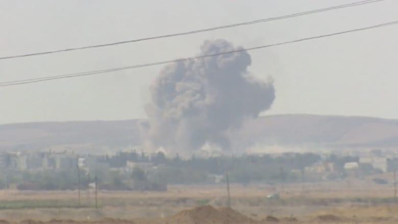 بالفيديو.. كاميرا CNN ترصد غارات التحالف على داعش في كوباني