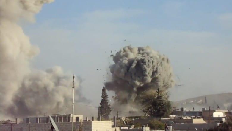 حصري.. لحظة انفجارات ضخمة استهدفت مقاتلي داعش في كوباني