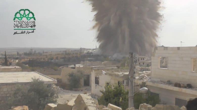بالفيديو.. الجبهة الإسلامية تفجر نفقاً بحاجز للجيش السوري في إدلب