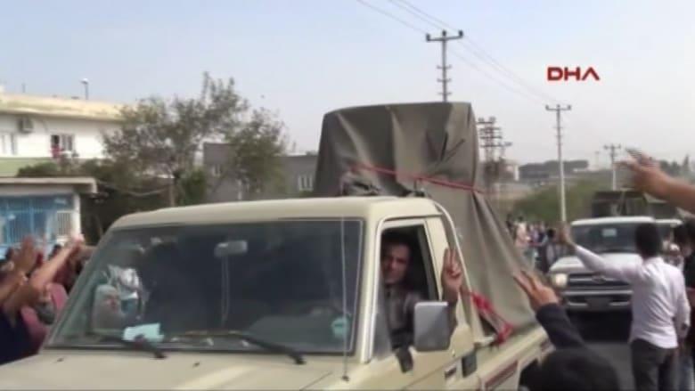 """قافلة """"البيشمرغة"""" تنطلق من تركيا باتجاه """"كوباني"""" في أجواء احتفالية"""