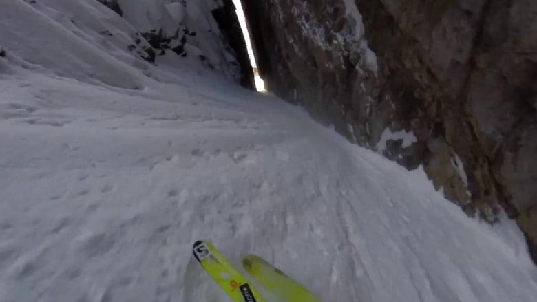 شاهد أخطرعملية تزلج مثيرة للرعب على الجليد