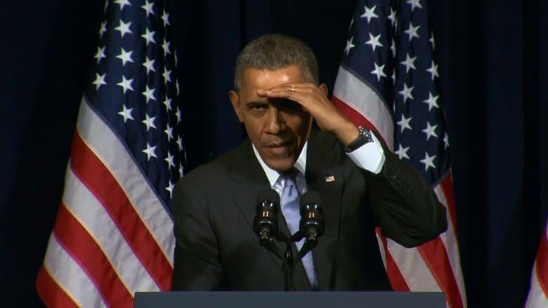 """أوباما يرد على شخص قاطع خطابه ليسأل عن """"خطته النووية بروسيا"""""""