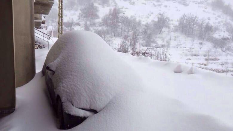 الثلوج بمنطقة عاليه في لبنان - أرسلتها هدى درغام