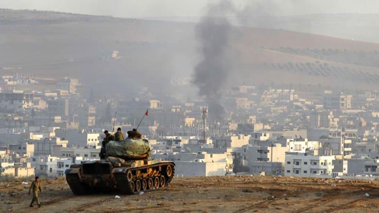 """مقاتلون أكراد يطوقون مسلحي """"داعش"""" داخل كوباني.. وقتلى بينهم أطفال بقصف جوي قرب دمشق"""