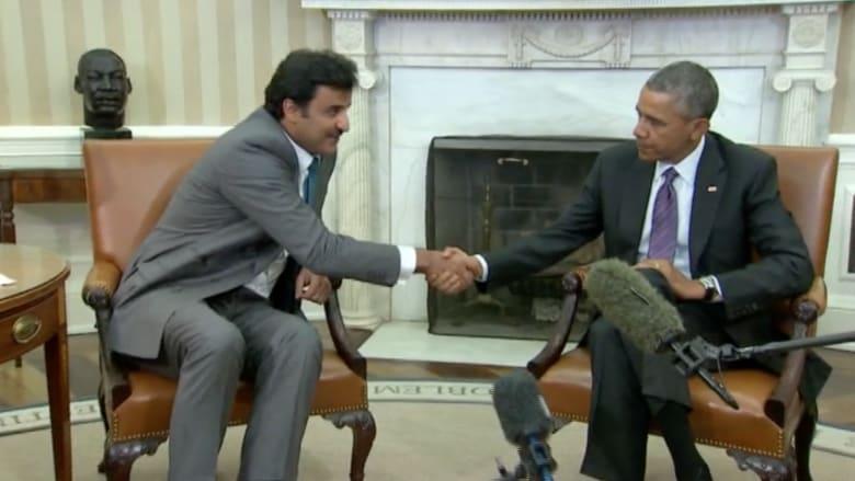 """أوباما وأمير قطر.. توافق على """"دحر داعش"""" ورحيل الأسد"""