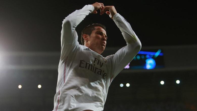 كريستيانو رونالدو من ريال مدريد يحتفل بعد تسجيله لهدف