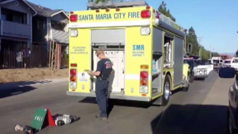 بالفيديو.. ضابط يقنع أطفالا بالقفز من شقة محترقة بالدور الثاني