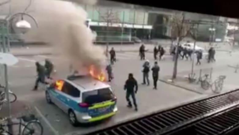 بالفيديو.. اشتباكات عنيفة في ألمانيا بين المتظاهرين ورجال الأمن