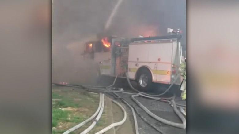 معركة بالمخدات بين 700 شخص ونيران بسيارة إطفاء بعد نداء استغاثة