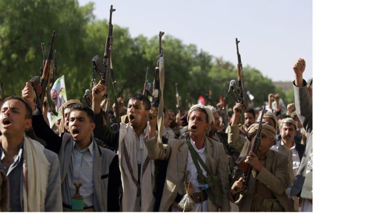 مؤيدون للحوثي يتظاهرون في صنعاء ضد قرار مجلس الأمن الدولي الذي يفرض حظرا للسلاح على الحوثيين، صنعاء 16 أبريل/ نيسان 2015