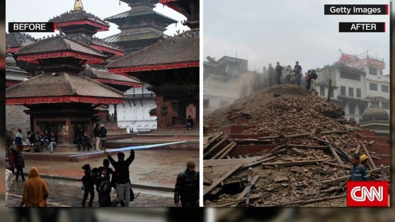 مبان ورموز تاريخية شهيرة تدمر بالكامل إثر أقوى زلزال يضرب نيبال منذ 80 عاما