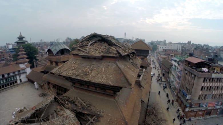 شاهد: كاميرا طائرة مسيّرة تكشف هول الدمار في كاتماندو