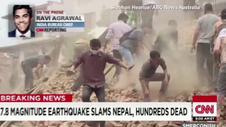 فيديو بثته CNN يطمئن عائلة على نجاة ابنها من ركام زلزال النيبال