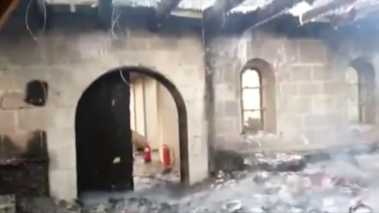 بالفيديو.. مشاهد من داخل كنيسة تاريخية بعد إحراقها شمال طبريا