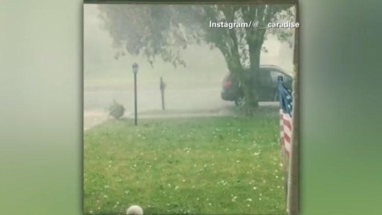 بالفيديو.. تساقط حبات برد عملاقة يثير الرعب في ماريلاند