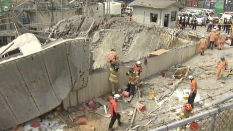 بالفيديو.. انهيار جزء من مصنع للكيماويات بعد انفجاره