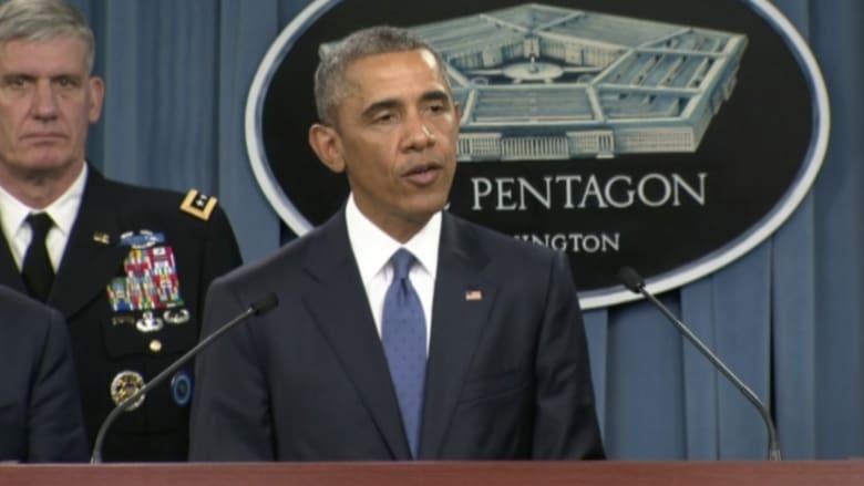 """أوباما يراجع في البنتاغون استراتيجية حرب """"داعش"""": نستهدف """"قلب"""" التنظيم"""