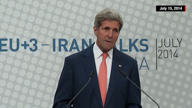شاهد بالفيديو.. 6 مرات تحدث فيها جون كيري عن تقدم بالمفاوضات النووية مع إيران