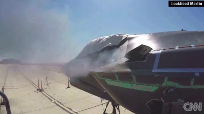 """بالفيديو .. مقاتلة """"F35"""" الأمريكية القاتل الطائر مع 3300 طلقة بالدقيقة"""