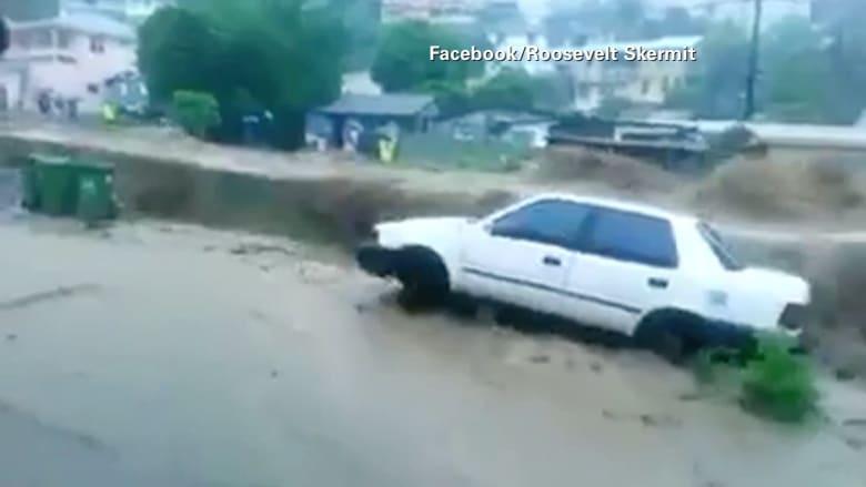 """بالفيديو.. مشاهد من إعصار """" إيريكا """" ومخاوف من وصوله فلوريدا"""