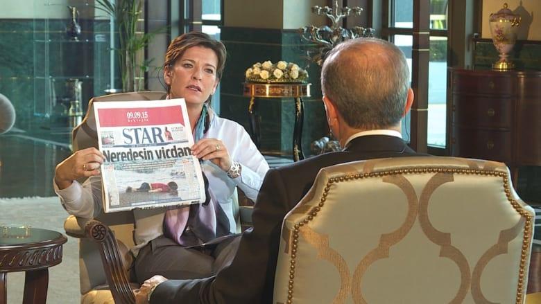 """أردوغان لـCNN بعد غرق """"إيلان"""" على الساحل التركي: الغرب يتحمل المسؤولية.. ولا نريد مشاهدة ذلك يتكرر"""